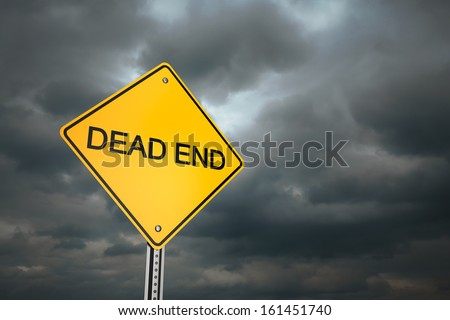 Yellow road warning sign , Dead End  - stock photo