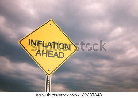 Yellow road warning sign , Inflation Ahead  - stock photo
