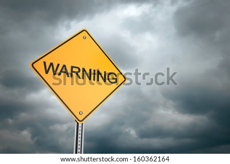 Yellow road warning sign , Warning  - stock photo