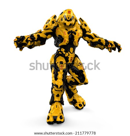 yellow robot - stock photo