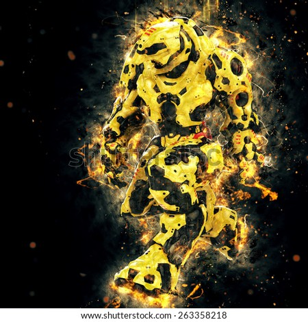 yellow robot walking on fire - stock photo