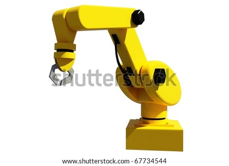 Yellow robotic arm for industry isolated on white - stock photo