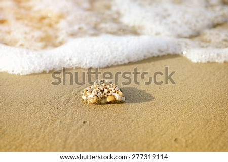 Yellow rock on sand in front of foamy water wave - stock photo