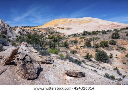 Yellow Rock, view from trail between Cottonwood Canyon Road trail head - stock photo