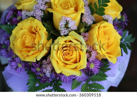 yellow rose bouquet - stock photo