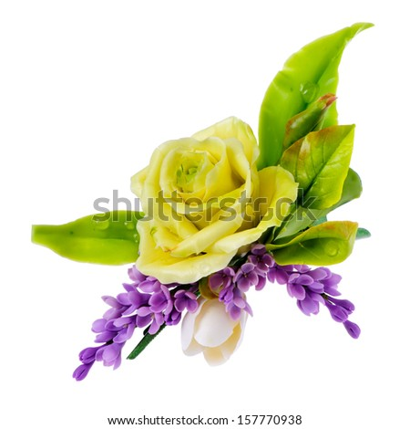 yellow rose  with leaves and lilac, isolated on white background  - stock photo
