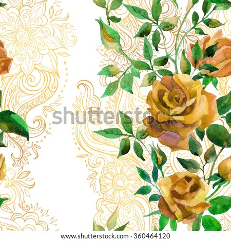 Yellow roses on golden ornament. Watercolor flowers on indian paisley seamless pattern. Hand painted illustration on white background - stock photo