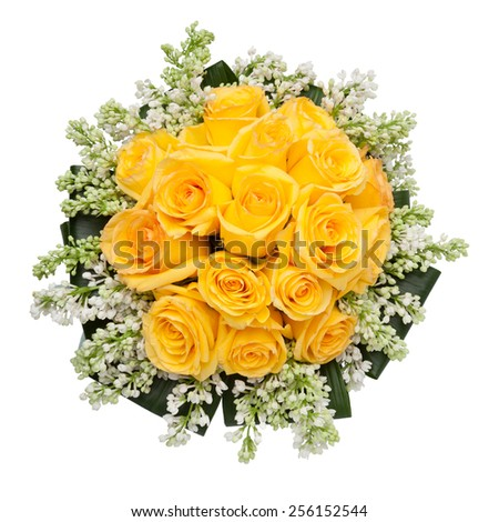 Yellow Roses wedding bouquet seen from above. - stock photo