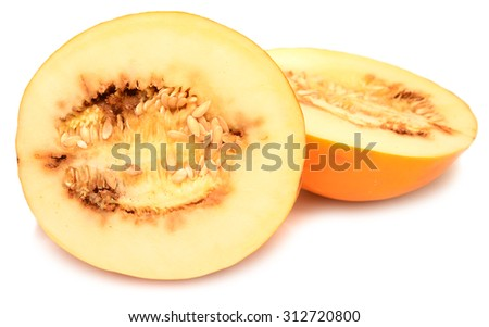 Yellow rotten melon slices on white background