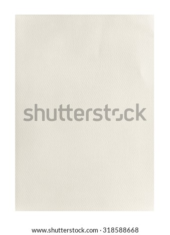 Yellow rough empty A4 paper isolated on white background - stock photo