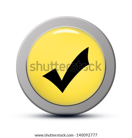 yellow round Icon series : Validate button