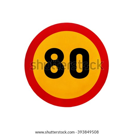 Yellow round speed limit 80 road sign - stock photo