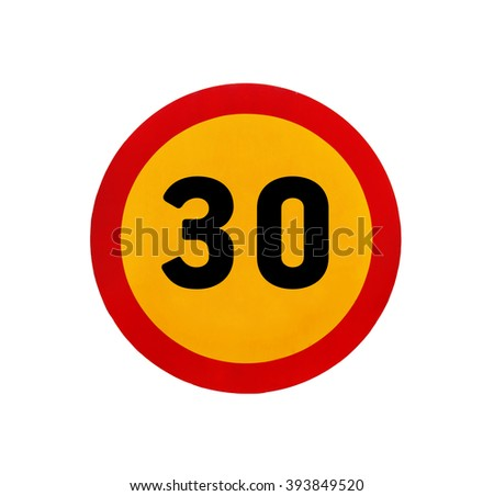 Yellow round speed limit 30 road sign - stock photo
