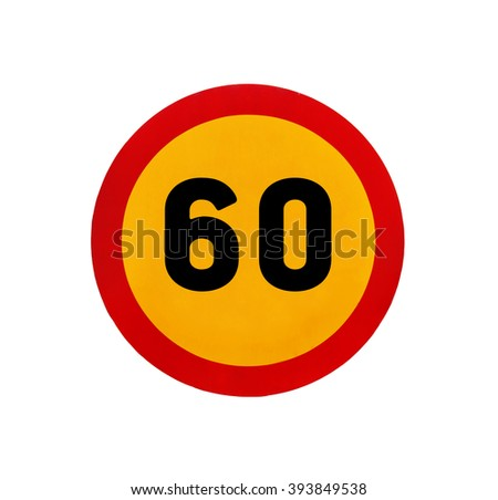 Yellow round speed limit 60 road sign - stock photo