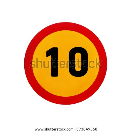 Yellow round speed limit 10 road sign - stock photo