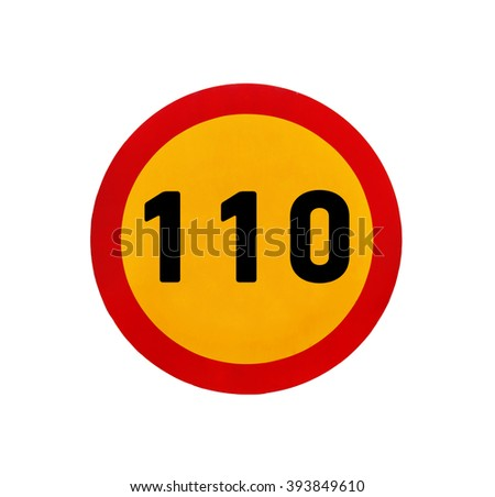 Yellow round speed limit 110 road sign - stock photo