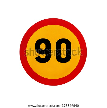 Yellow round speed limit 90 road sign - stock photo