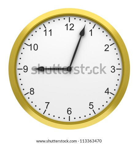 yellow round wall clock isolated on white background - stock photo