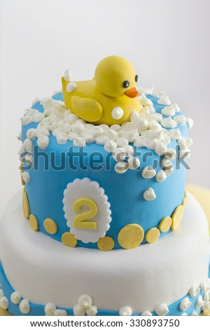 yellow rubber duck themed 2 years stock photo 330893750