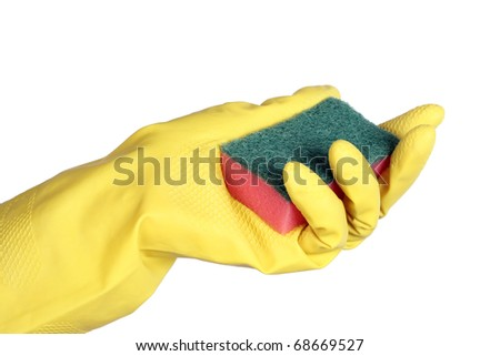 Yellow rubber gloves with sponge isolated on white background