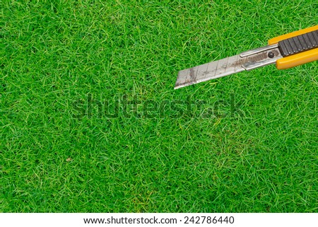 yellow rusty cutter blade on grass background