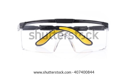 Yellow safety glasses isolated on the white background - stock photo