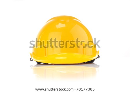Yellow safety helmet from front view isolated white background - stock photo