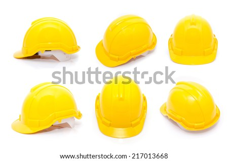 Yellow safety helmet isolate on white background - stock photo