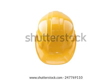 Yellow safety helmet on white background - stock photo