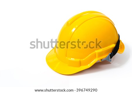 Yellow safety helmet on white background. hard hat isolated on white - stock photo