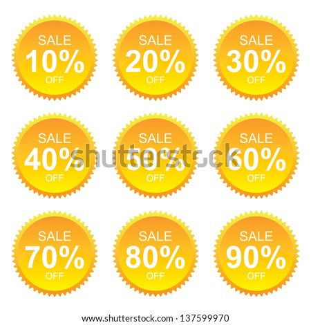 Yellow Sale 10 - 90 Percent OFF Discount Label Tag Isolated on White Background - stock photo