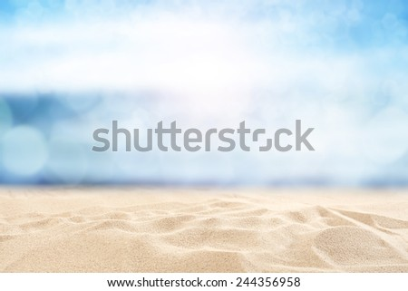 yellow sand and sky of blue  - stock photo