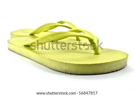 yellow sandals/flip flops - stock photo