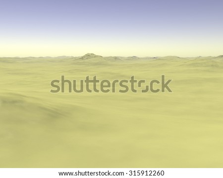 Yellow sands on smooth ground without plants. 3D Illustration, 3D rendering