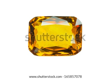 Yellow sapphire  isolated on white - stock photo