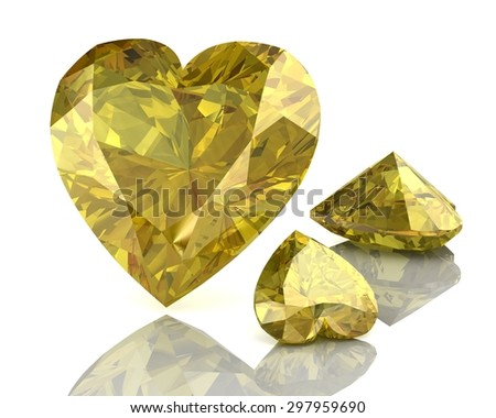 yellow sapphire on white background