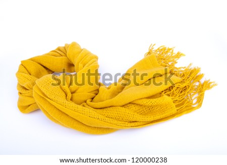 Yellow scarf isolated on white - stock photo