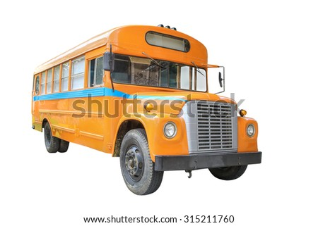 yellow school bus isolated on white background - stock photo