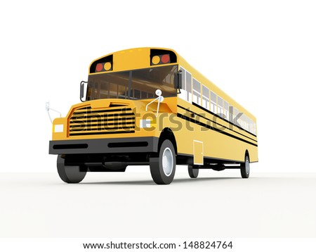 Yellow school bus rendered isolated on white background - stock photo