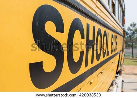 Yellow school bus sign - stock photo