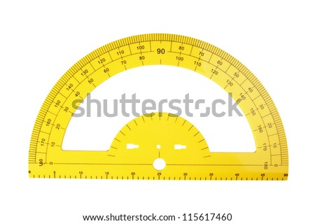 yellow school protractor isolated on a white background - stock photo