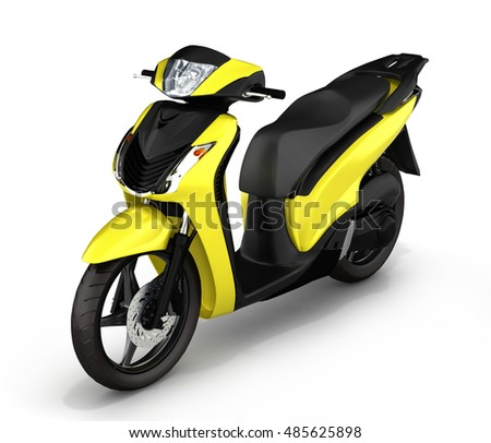 yellow scooter on white background 3d illustration
