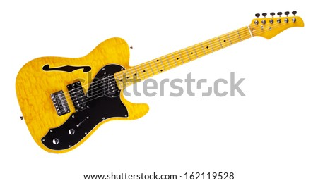 yellow semi-hollow electric guitar, isolated on white - stock photo