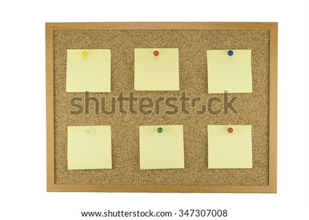 yellow sheets of paper pinned to cork bulletin board isolated on white background