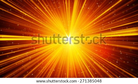 yellow shining light rays and stars. computer generated abstract background - stock photo