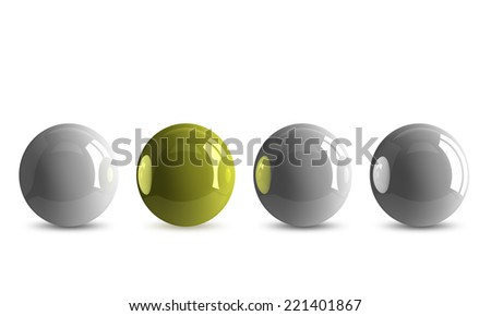 Yellow shiny ball in row of white ones isolated on white