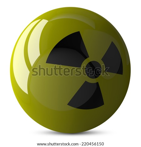 Yellow shiny sphere with radiation sign, 3d render isolated on white - stock photo
