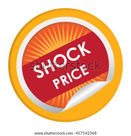 Yellow Shock Price Special Promotion Campaign Infographics Icon on Circle Peeling Sticker Isolated on White Background  - stock photo