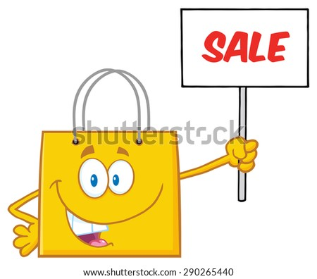Yellow Shopping Bag Cartoon Character Holding Up A Blank Sign With Text. Raster Illustration Isolated On White - stock photo