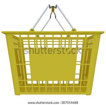 Yellow Shopping Basket Isolated Over White Background - Copy Space - stock photo